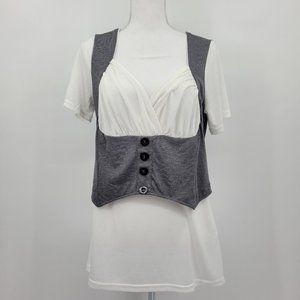 Rosegal Grey and White Tunic Top